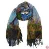 Sciarpa, Stola sfrangiata, disegno La Passeggiata di Monet, Multicolore Colore interno Blu, Lana e Viscosa, dimensioni 180X74 cm