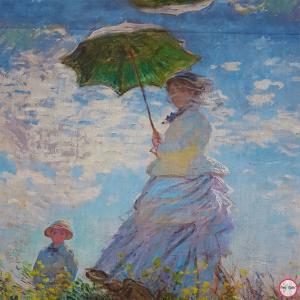 Sciarpa, Stola sfrangiata, disegno La Passeggiata di Monet, Multicolore Colore interno Blu, Lana e Viscosa, dimensioni 180X74 cm2
