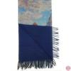 Sciarpa, Stola sfrangiata, disegno La Passeggiata di Monet, Multicolore Colore interno Blu, Lana e Viscosa, dimensioni 180X74 cm3