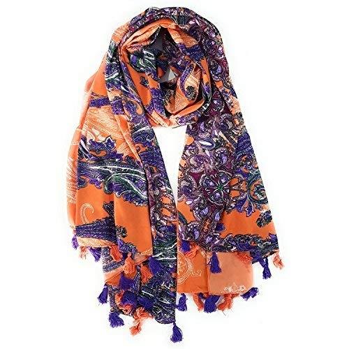 l'ultimo a0af0 1928f Pareo Mare Donna, Foulard, Pashmina Cashmere Colore Arancione/Viola 100%  Cotone 176×105 cm
